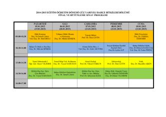 2014-2015 eğitim öğretim dönemi güz yarıyılı bahçe bitkileri bölümü