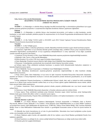 2014 Yılı Ar-Ge Yeni Tebliği - TC Gıda Tarım ve Hayvancılık Bakanlığı