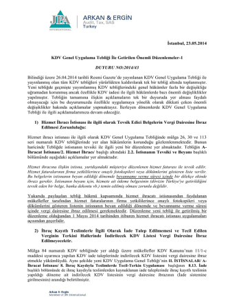 2014-43 KDV Genel Uygulama Tebliği İle