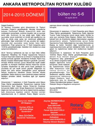 Bülten 3-4 - Ankara Metropolitan Rotary Kulübü