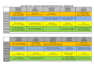 2014-2015 güz yarıyılı zootekni bölümü sınav programı