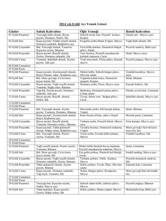 2014 yılı Eylül Ayı Yemek Listesi Günler Sabah