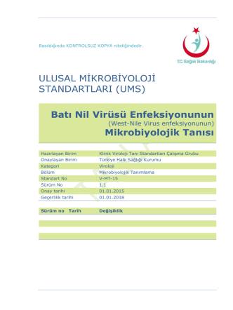 Batı Nil Virusu enfeksiyonu - Türkiye Halk Sağlığı Kurumu