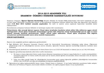 2014-2015 akademik yılı erasmus+ öğrenci öğrenim hareketliliği