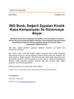 ING Bank, Değerli Eşyaları Kiralık Kasa Kampanyası ile Güvenceye
