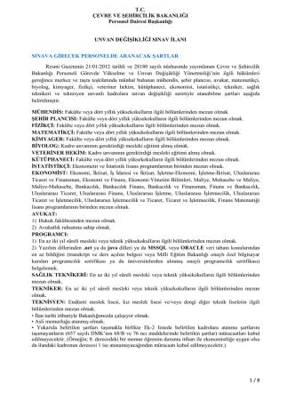 1-SINAV İLANI İndir - Çevre ve Şehircilik Bakanlığı