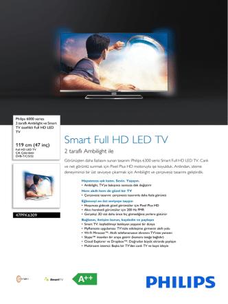 47PFK6309/12 Philips 2 taraflı Ambilight ve Smart TV özellikli Full