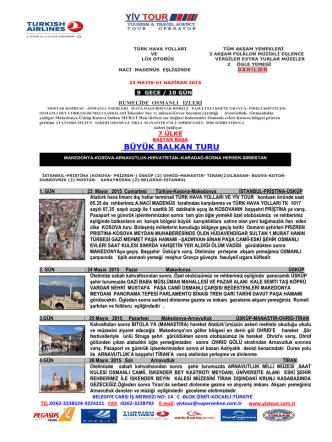 BÜYÜK BALKAN TURU - Yiv Tour Turizm Seyahat Acentası