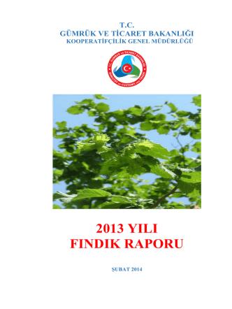 2013 Fındık Raporu - Gümrük ve Ticaret Bakanlığı Kooperatifçilik