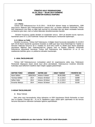 2014 Yılı Denetim Kurulu Raporu
