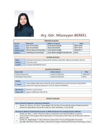 Arş. Gör. Müzeyyen BERKEL - Celal Bayar Üniversitesi