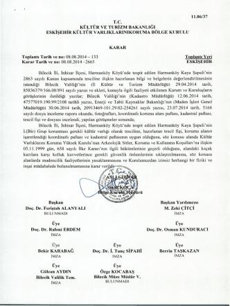 Bilecik İnhisar Harmanköy Köyü Harmanköy Kaya Şapeli tescil