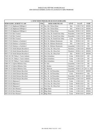 2014-2015 güz dönemi lisans-lisansüstü ders programı