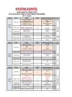 Kesinleşmiş Sınav Programı 2014-2015 VİZE