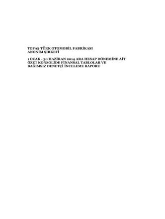 6 aylık (30.06.2014) Konsolide Finansal Tabloları ve