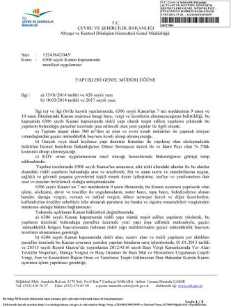6306 sayılı kanun kapsamında KDV uygulaması