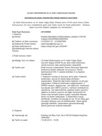 1-İdarenin a) Adresi - Meteoroloji Genel Müdürlüğü