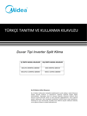 2020001B5311 user manual - Modern Klima Teknolojileri