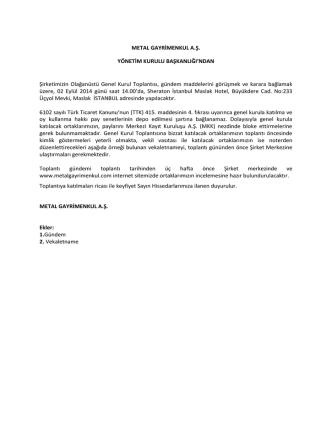 02/09/2014 Olağanüstü Genel Kurul Toplantı Gündemi