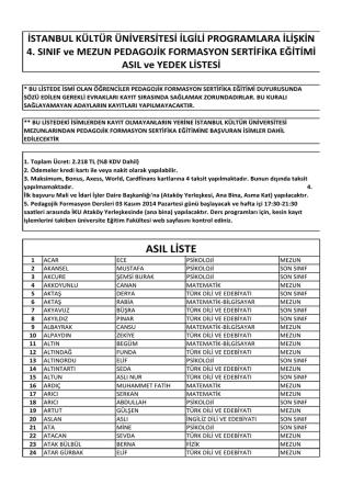 asıl liste - İstanbul Kültür Üniversitesi