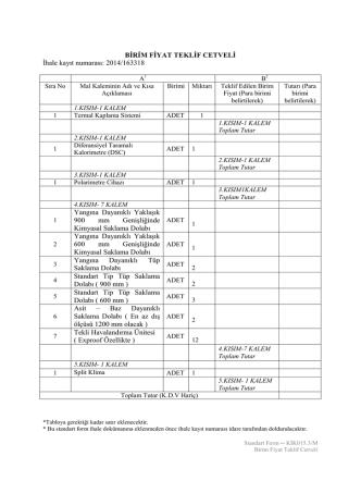BİRİM FİYAT TEKLİF CETVELİ İhale kayıt numarası: 2014/163318