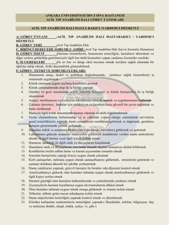 Acil Tıp Anabilim Dalı Hasta Bakıcı / Yardımcı Hizmetli