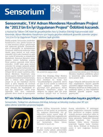 27/06/2014 Sensormatic, TAV Adnan Menderes Havalimanı Projesi ile