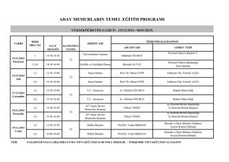 Aday Memur Temel Eğitimi Ders Programı ve Katılımcı Listesi