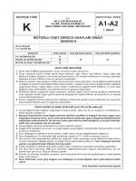 A2 Sınıfı Ehliyet Sınav Soruları Kitapçığı