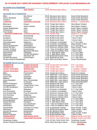 06-15 KASIM 2014 MÜSABAKA PROGRAMI