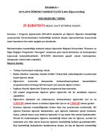 ERASMUS + 2015-2016 Öğrenim Hareketliliği İlanı