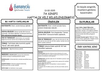"""7A SINIFI HAFTALIK VELİ BİLGİLENDİRMESİ """""""