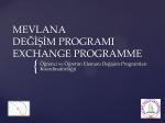 Mevlana Değişim Programı Yenilikler Sunumu