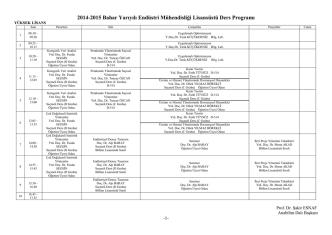 2014-2015 Bahar Yarıyılı Endüstri Mühendisliği Lisansüstü Ders
