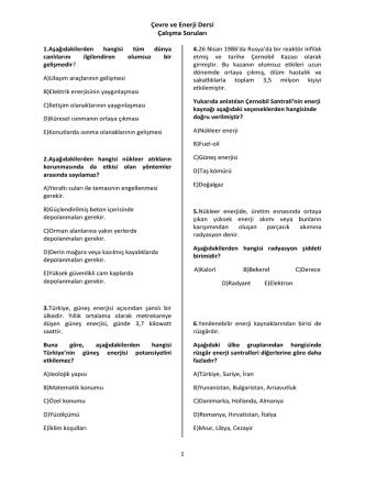 Çalışma Soruları - Kırklareli Üniversitesi Personel Web Sistemi