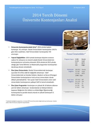 2014 Tercih Dönemi Üniversite Kontenjanları Analizi