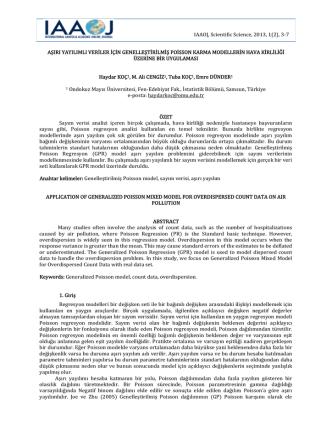 aşırı yayılımlı veriler için genelleştirilmiş poisson karma modellerin