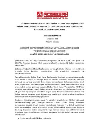 2013 Yılı Olağan Genel Kurul Bilgilendirme Dökümanı (PDF)