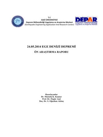 24.05.2014 Ege Denizi Depremi Ön Araştırma