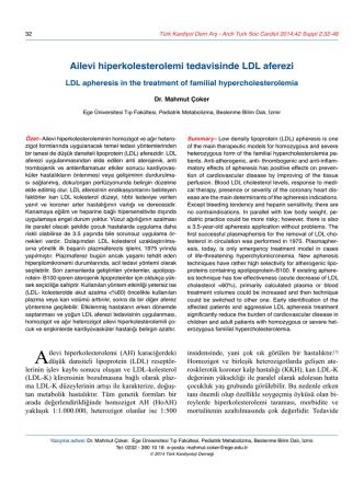 Ailevi hiperkolesterolemi tedavisinde LDL aferezi