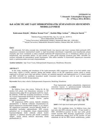 8x8 Ağır Ticari Taşıt Hidropnömatik Süspansiyon Sisteminin