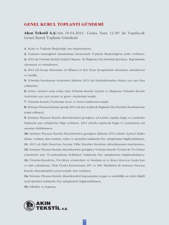 akın tekstil 2013 faaliyet raporu