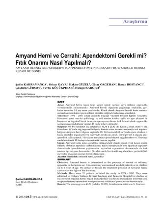 Amyand Herni ve Cerrahi: Apendektomi Gerekli mi? Fıtık Onarımı