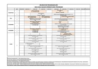 bilgisayar programcılığı 2013-2014 bahar dönemi ders programı