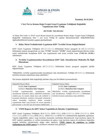 2014-63 1 Seri No.Lu Katma DeğerVergisi Genel