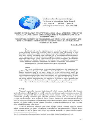 - 92 - Uluslararası Sosyal Araştırmalar Dergisi The Journal of