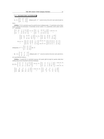 21 Mat 201 Lineer Cebir Çalışma Soruları 1.3