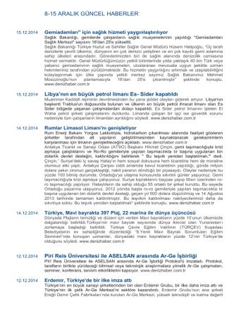 8-15 Aralık Haftası Denizcilik Haberleri
