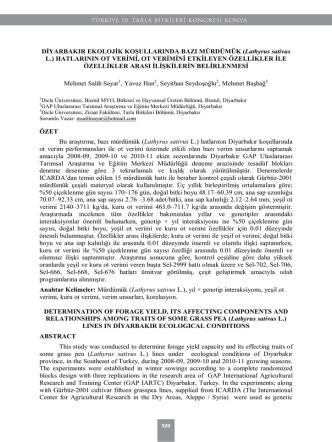 (Lathyrus sativus L.) HATLARININ OT VERİMİ, OT