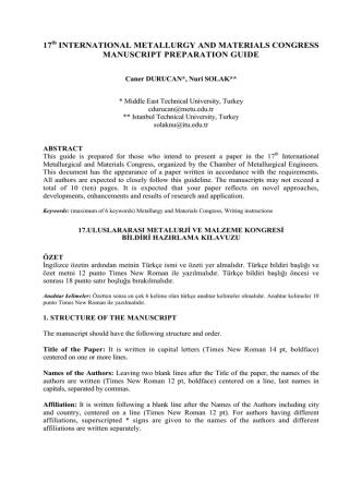 17 international metallurgy and materials congress manuscript